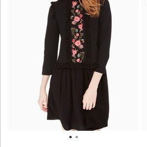 Kate Spade Black Embroidered Mixed Media dress